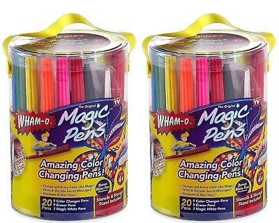 2 PAK Magic Pens Color Changing Erasing Markers Bonus Blow Pen Attachment Wham O