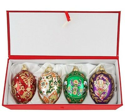 Joan Rivers 2016 Set of 4 Russian Inspired Egg Ornaments - x9007s
