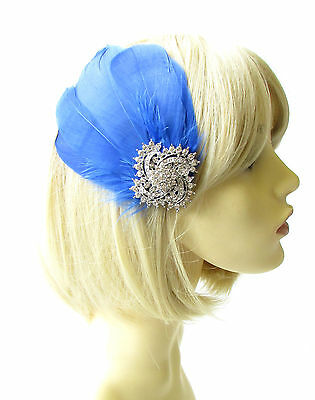 Cobalt Blue Silver Feather Fascinator Hair Clip Races Diamante Headpiece 1796
