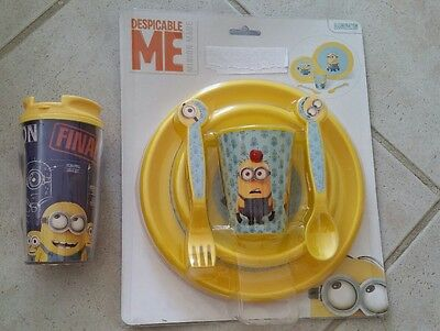 Despicable Me2 Minions 5 pc Mealtime Dinnerware Set Plate BowlFlatware\u0026Cup-New & MONSTERS INC.-5 Pc. Dinnerware Set - $26.09 | PicClick