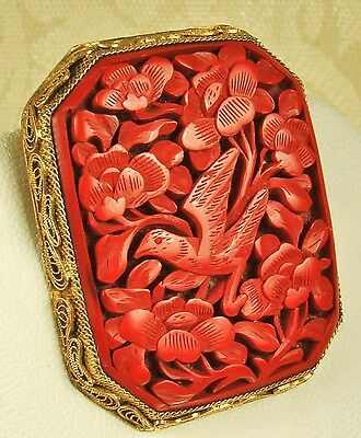 SO FINE! Signed 1920s Chinese SILVER & GOLD Vermeil CARVED CINNABAR Clip/Pendant
