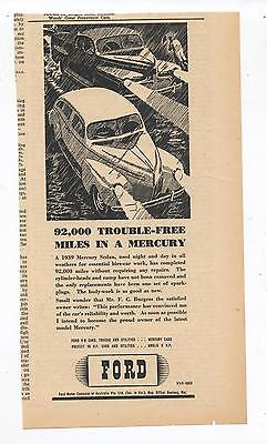 Ford Mercury V8 Advertisement removed from a 1945 Australian Newspaper