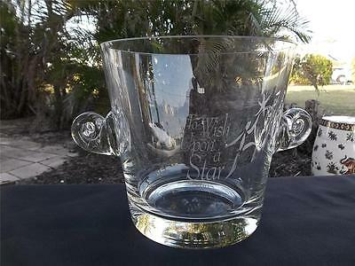 """Tiffany & Co Crystal Etched """"to Wish Upon A Star"""" Handled Wine Cooler Ice Bucket"""