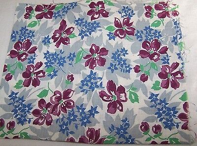 Pc Vintage Cotton Print Feed/four Sack/bag Maroon/blue/gray Floral-Fabric-Quilt