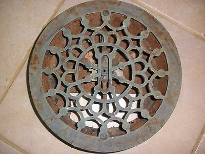 Antique Cast Iron Round Floor Heat Grate Register