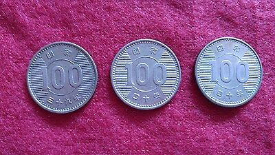 1964&1965Japanese 100 Yen 60% Silver 3-Coins Japan 昭和三十九,四十年Last One,1Day Ship