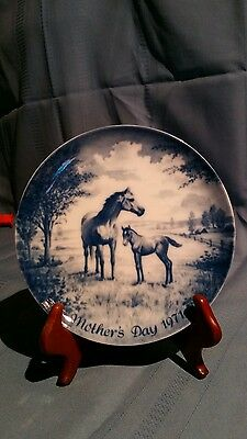 Kaiser Blue MOTHER'S DAY PLATE Mare & Foal (1971) Made in West Germany