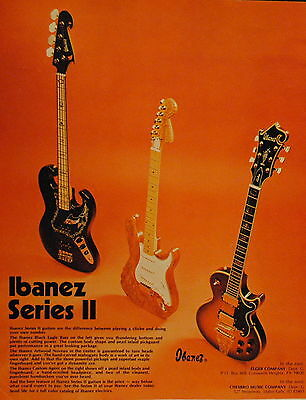 1975 Ibanez Custom Agent, Black Eagle Bass, Artwood Noveau guitars print ad