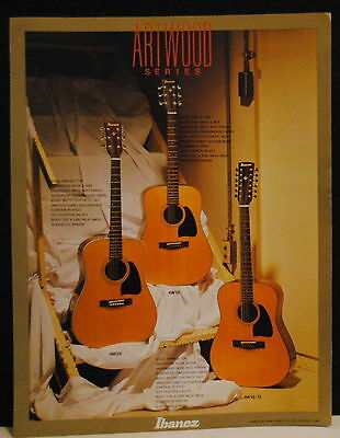1988 Ibanez AW28, AW18, AW18-12 Artwood acoustic guitars brochure