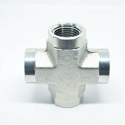 "Cross 4 Way 1/2"" Female NPT FIP Steel FITTING Vacuum, Fuel, Air, Water, Oil, Gas"