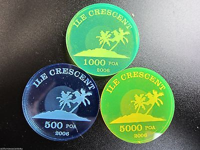 """3 - Unusual Beautiful """"rare Acrylic Coins"""" Of Crescent Isl. Only434 Minted!"""