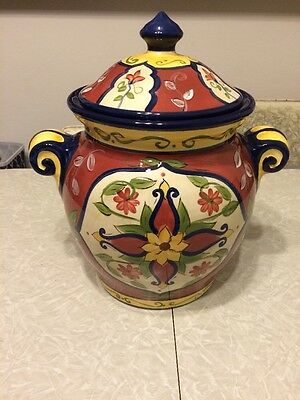 "Pier 1 Vallarta, Hand Painted Large Cookie Jar Canister 11"" Flowers Seal Lid EUC"