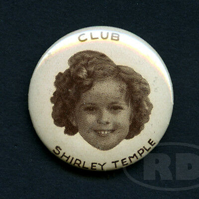 Scarce 1930s French Shirley Temple Club Pinback Button