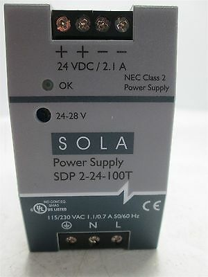 Sola SDP 2-24-100T Power Supply, Input: 115/230VAC 50/60Hz, Output: 24VDC 2.1A