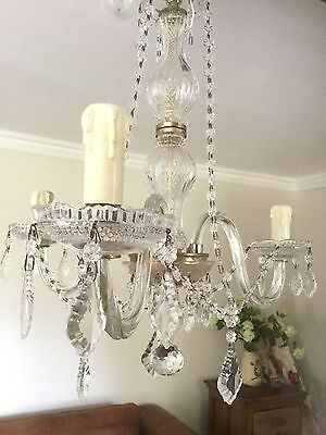 french glass crystal 3 arm chandelier stunning Shabby Chic Vintage Beautiful