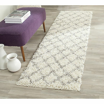 Safavieh Dallas Shag Ivory Grey Rug 2'3 x 8' Living Room Carpet Area Geometric