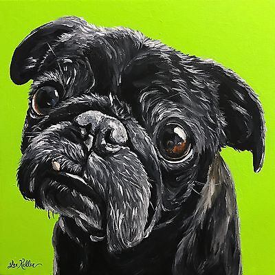 "Pug art print from original painting, 8x8"",black pug signed by artist"