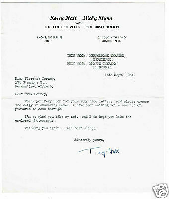 Terry Hall and Micky Flynn Venreiloquist Hand Signed Vintage 1951 headed Letter