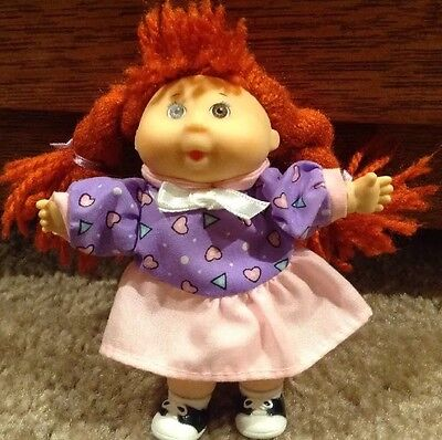 "Vintage 1995 Mattel Cabbage Patch Kids Mini Doll 4"" Orange/Red Ponytails"