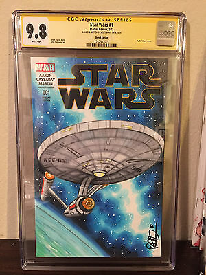 USS ENTERPRISE Star Trek STAR WARS CGC Sketch Variant Scott Blair 1/1