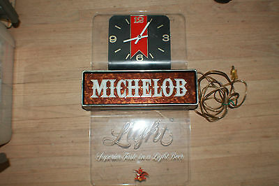 Vintage Michelob Beer Sign with Clock Working!