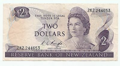 $2 New Zealand 1967-1991 Paper Banknote Knight Signature 2K2 244653