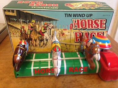 Schylling Mecanical Wind-Up Tin Horse Race in Box