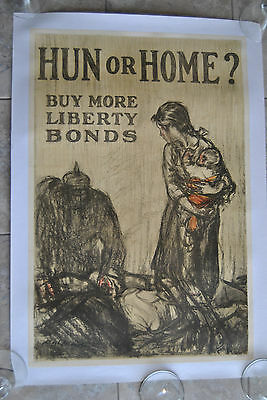 1917 World War I Hun or Home? Buy More Liberty Bonds US Poster by Raleigh LINEN