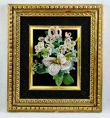 Vintage Framed French Glass Hand Beaded Wire Flower Bouquet