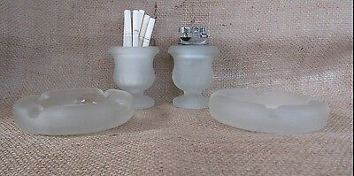 Retro/Vintage Frosted Glass Table Lighter, Cigarette Holder and Two Ashtrays!!!!