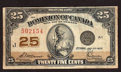 Dominion of Canada 25 Cent 1923 Currecy Note - 3 Pinholes