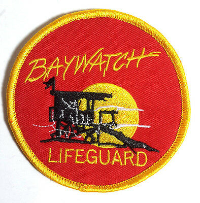 """Baywatch Lifeguard Red Round SMALL Logo 3 3/8"""" Embroidered Patch (BWPA-003)"""
