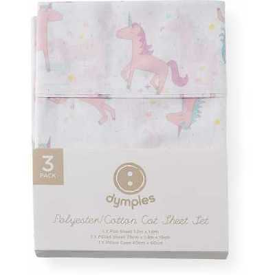 NEW Dymples Cot Sheet 3-Piece Set - Unicorn