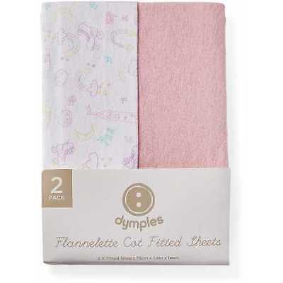 NEW Dymples Flannelette Fitted Cot Sheet 2-Pack - Pink Print