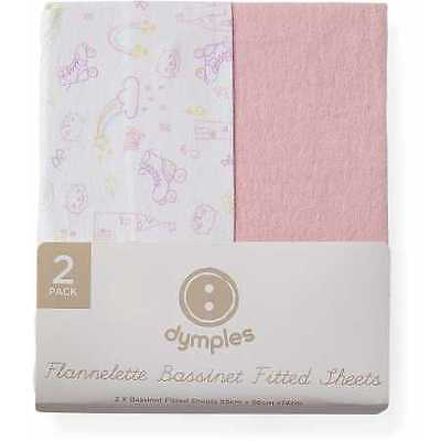 NEW Dymples Flannelette Bassinet Fitted Sheets 2-Pack - Pink Print