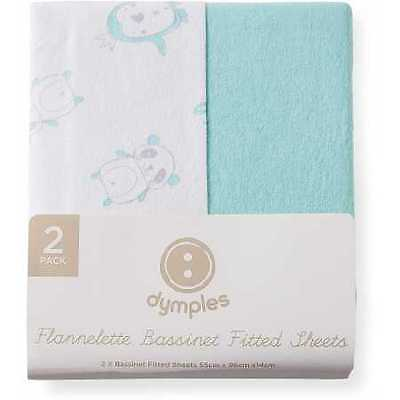 NEW Dymples Flannelette Bassinet Fitted Sheets 2-Pack - Mint Print