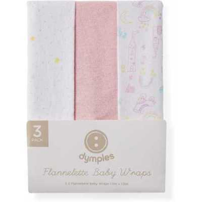 NEW Dymples Flannelette Baby Wraps 3-Pack        Pink Prints
