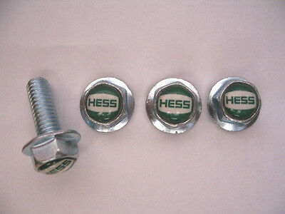 HESS Gas License Plates Screws, Hess Gasoline Logo Plate Screws, Hess gas screws