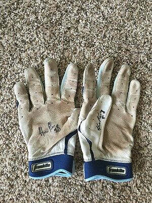 HERNAN PEREZ Game Used Signed Batting Gloves Brewers