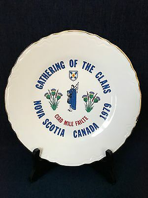 Collector Plate Gathering Of The Clans Nova Scotia Canada 1979 Gold Trim 22k