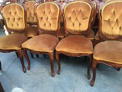 Set Of 8 Italian Gold Velvet Antique Style Ornately Carved Dining Chairs