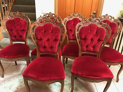 Set Of 6 Italian Red Velvet Antique Style Ornately Carved Dining Chairs