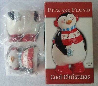 NEW FITZ & FLOYD COOL CHRISTMAS PENGUIN LIDDED BOX - for candy, coins, etc.