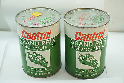 Vintage Castrol Oil Grand Prix Motorcycle Oil Two Cycle Lot 2 Quart Can Usa Full