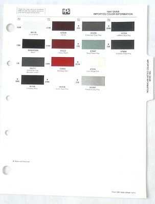 1991 Saab Ppg Paint Chip Chart All Models Original