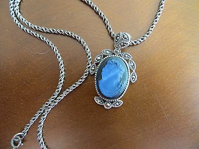 """Vintage 925 Sterling Blue Glass Engraved Cameo Marcasite Stones 18"""" Necklace"""