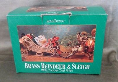 Vintage Brass Reindeer & Sleigh With Copper Cast Finish