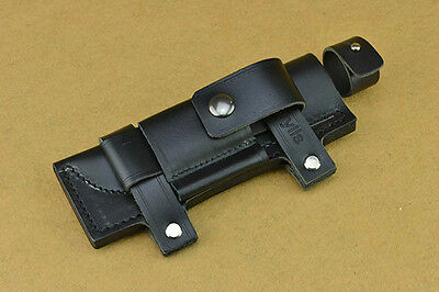 """Straight Leather Pouch Case Black Belt Sheath For Less 7"""" Fixed Knife NEW Gift"""