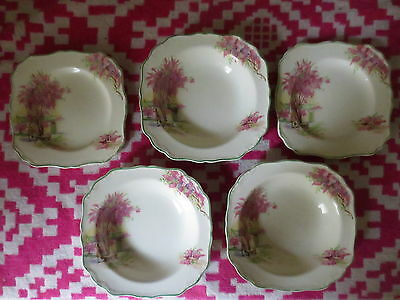 Vintage J & G Meakin England Lilac Time 6 x Plates Bowls