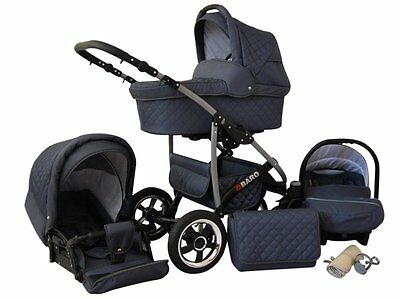 Kinderwagen Qbaro, 3 in 1- Set Wanne Buggy Babyschale Autositz Graphite
